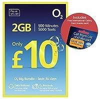 O2(2G / 3G / 4G)UKトリオSIM PAYG£10バンドル-2GBデータ、500分+ 5000テキスト+国際電話カード - (Love2surf RETAIL PACK)