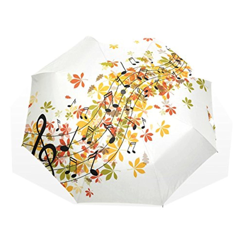 AOMOKI 折り畳み傘 折りたたみ傘 手開き 日傘 三つ折り 梅雨対策 晴雨兼用 UVカット 耐強風 8本骨 男女兼用 紅葉 音符 音楽