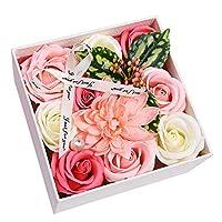 ソープフラワー ギフトボックス、人工ローズブーケ、バレンタインデー、母の日、教師の日、誕生日の贈り物 (パウダー)