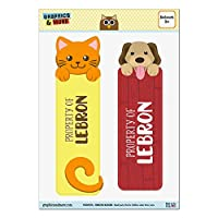 レブロンオレンジ猫と2光沢ラミネートブックマークの犬セット