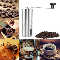 (4.8 x 14cm, Silver) - Remiel Store Manual Ceramic HOT Portable Crank Hand Coffee Stainless Coffee Mill Grinder (4.8 x 14cm, Silver)