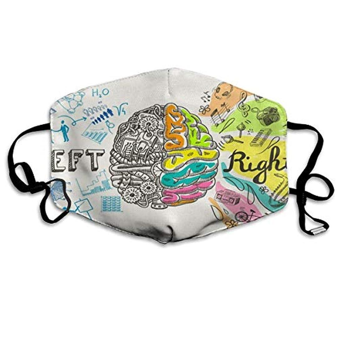理想的には困惑するうがいEmoti レディースメンズキッズのための脳の左と右の分析クリエイティブ半球スケッチ落書きハンド再利用可能な綿の口のマスクに、ファッションアンチダストフェイスマスク