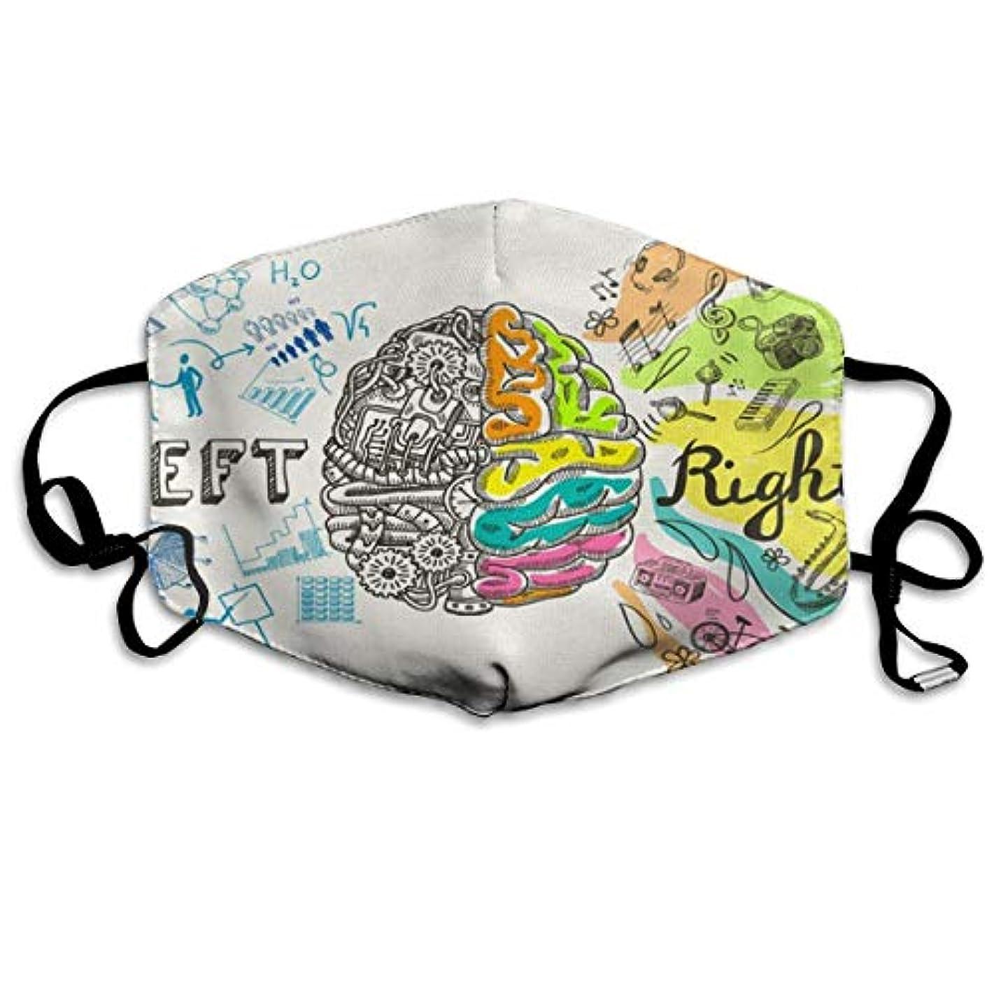 トピック本を読む急勾配のEmoti レディースメンズキッズのための脳の左と右の分析クリエイティブ半球スケッチ落書きハンド再利用可能な綿の口のマスクに、ファッションアンチダストフェイスマスク