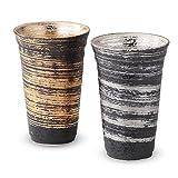 ビアグラス : 有田焼 金銀刷毛 反型ペアビアカップ(大)