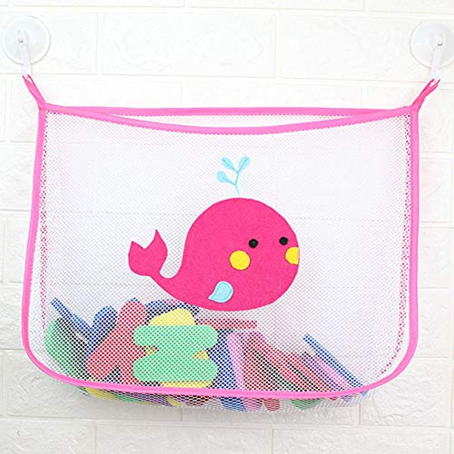 アラブ征服する付けるベビーシャワー風呂のおもちゃ小さなアヒル小さなカエルの赤ちゃん子供のおもちゃ収納メッシュで強い吸盤玩具バッグネット浴室オーガナイザー (ピンク)