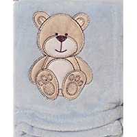 Snugly Baby Embroidered Bear Ultra Soft Blanket ~ Blue by Snugly Baby