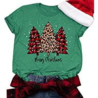 GHdggk Womens Cute Christmas Tree Graphic T Shirts Summer Short Sleeve Tops Tees