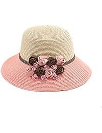 (viviwo)麦わら帽子 つば広 女優帽 日よけ 紫外線対策 きれい 花付き 小顔効果 レディース 女子
