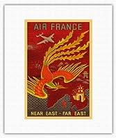近東、極東 - ロッキードコンステレーションは、インド、中国、日本、パラダイスの国の鳥に飛びます - エアフランス - ビンテージな航空会社のポスター によって作成された ルシアン・ブーシェ c.1947 - キャンバスアート - 28cm x 36cm キャンバスアート(ロール)