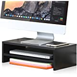 FITUEYES 2 Tiers Monitor Stand Wood PC Laptop Computer/TV Screen Riser Desk with Storage Shelf for Home Office 42.5 x 23.5 cm Black DT204201WB