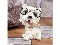 Osize 理想的 かわいい樹脂の子犬の犬の装飾眼鏡の犬の装飾庭とホーム(ホワイト)
