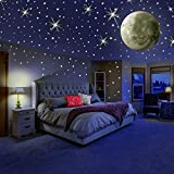 MAFOX Glow in The Dark Wall or Ceiling Stars with Moon Stickers – Luminous Decal Stickers for Simulated Moon Effect at Night