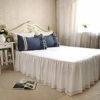 ホワイトレースベッドカバー/無地 綿100% 洗える ベッドスカート シングル