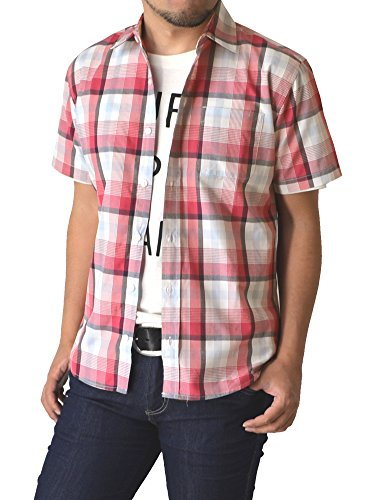(リミテッドセレクト) LIMITED SELECT P2 シャツ メンズ チェック柄シャツ 半袖 ストライプ R4G-0790 L B 2柄