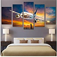 Xueshao アートワークポスターキャンバス絵画5ピースHd飛行機ホームデコレーション交通ツールウォールアート用リビングルームモジュラー写真-30X40Cmx2 30X60Cmx2 30X80Cmx1