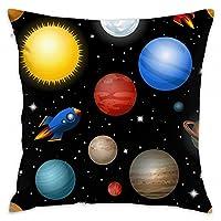 クッション 抱き枕 装飾枕 枕 宇宙 惑星柄 ロケット 銀河 正方形 おしゃれ 部屋 ソファ 車 インテリア 雰囲気 飾り 椅子 寝台