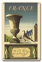22cm x 30cmヴィンテージハワイアンティンサイン - フランス - 国の城 - ビンテージな世界旅行のポスター によって作成された ジャン ピカール ル ドゥ c.1950