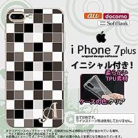 iPhone7plus スマホケース ケース アイフォン7plus ソフトケース イニシャル スクエア グレー nk-i7plus-tp1016ini X