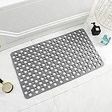 Bathtub Shower Mat Non-Slip with Suction Cups & Drain Holes Bath Mat Antibacterial Machine Washable Bathroom Rug for Kids Eld