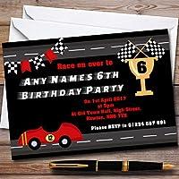 レッドレース車& Flag Childrens誕生日パーティー招待状 100 Invitations