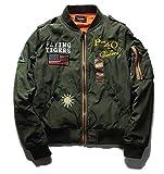 kimurea select メンズ ミリタリー ジャケット MA-1 カジュアル ジャンパー スタジャン ライダース バイク ライダーズ (Mサイズ, カーキ)