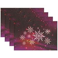 YUMOING クリスマス 雪の結晶 アイスクリスタル ブルー プレースマット 4枚セット 断熱 汚れにくい ダイニングテーブル 耐久性 ノンスリップ キッチンテーブルプレースマット