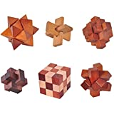 Sanwooden Not Only Happy 6Pcs/Set Luban Lock Brain Teaser Adults Kids Puzzle Educational Wooden Toys