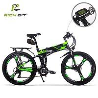 RICH BIT TP860 電動アシスト自転車 折りたたみ 26インチ MTBマウンテンバイク 電動自転車 36V*12.8AH 法律に合う 公道で走ることができる 防范登録もできる (グリーン(荷台、サドルバッグ付き))