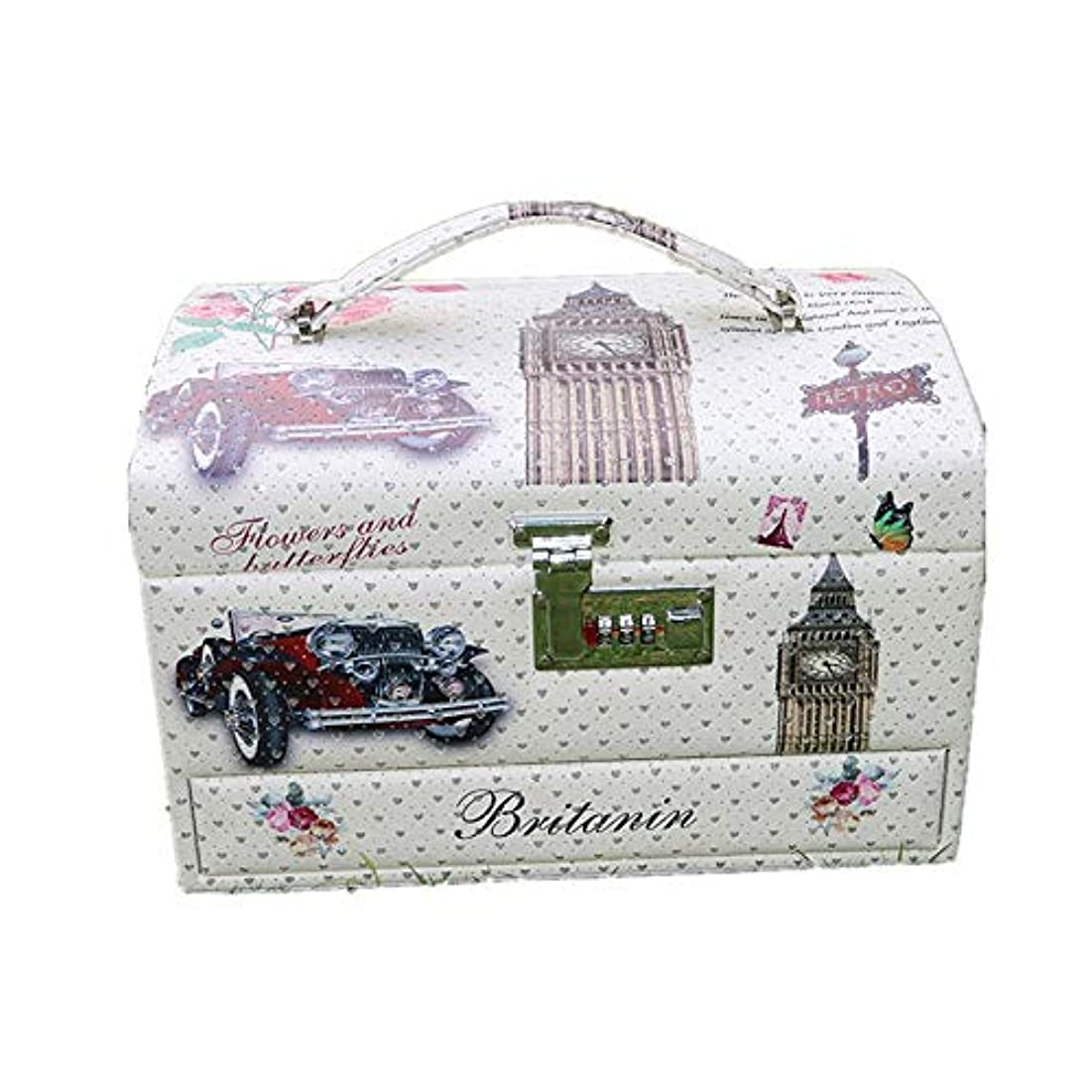 外交バラ色壁化粧オーガナイザーバッグ 大容量ポータブルPUレザー化粧品美容メイクアップ化粧ケースロックと化粧鏡 化粧品ケース