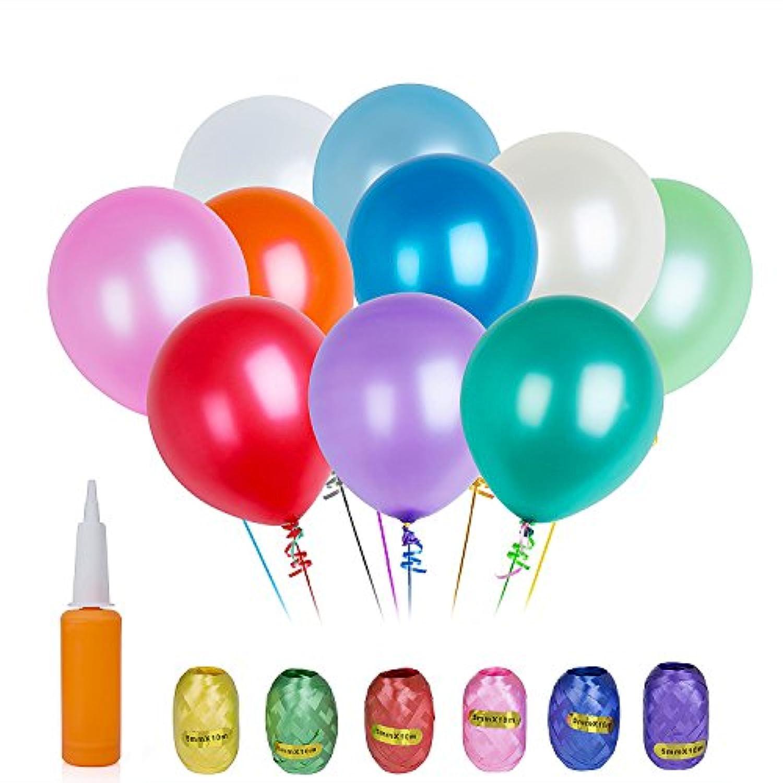 ZeWoo 風船100個入り ラテックス製 カラフル バルーン 結婚式 誕生日パーティー デコレーション+1空気ポンプ+6色リボン