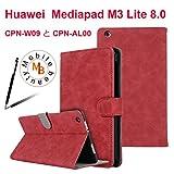 Huawei MediaPad M3 Lite 8.0 ケース 手帳型【Mobile beauty】CPN-W09 と CPN-AL00合皮PUレザー横開きオートスリープ機能 スタンド機能付き カードポケットカバー Huawei M3 lite 8インチ 傷つ防止 耐衝撃 衝撃吸収 全面保護型ケース (レッド,タッチペン付き)