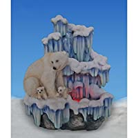 SINTECHNO SNF12076-3 Artistic Sculptural Mother Polar Bear with Her Cubs on Iceberg Tabletop Water Fountain [並行輸入品]