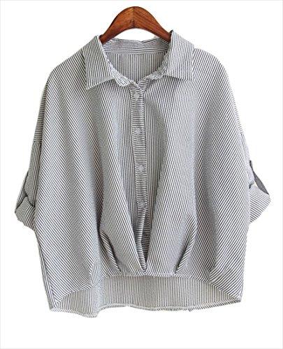 (フムフム) fumu fumu 5色 シャツ ( 軽くてやわらか キャンディカラー ウエストしぼり ストライプ ) 長袖 七分袖 カットソー チュニック 日焼け ブラウス トップス (ブラック)