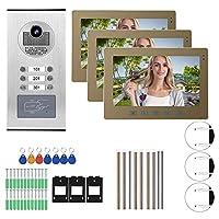 ビデオドアベル、10インチビデオドア電話3モニターナイトビジョンインターホンドアベルホームアクセスシステム、ホームセキュリティ制御システム(米国のプラグ)