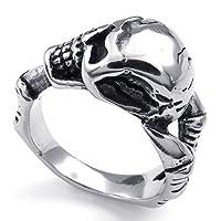 [テメゴ ジュエリー]TEMEGO Jewelry メンズステンレススチールリング、ヴィンテージゴシックスカルバンド、ブラックシルバー[インポート]