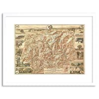 Map White Mountain New Hampshire Bumstead Framed Wall Art Print