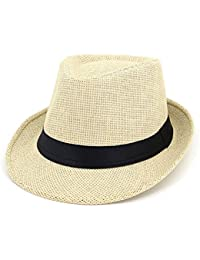 XZP ストロージャズハット、ニューファッションサマービーチサンハットストローパナマレオパードバンドカウボーイフェドラハット女性のための女性 (色 : White)