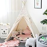 lebzeキッズティピテントプリンセス女の子、レースキャンバスChildrens Play Tent forインドアクリスマス装飾Carryケース