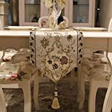3D刺繍 テーブルランナー ホームデコレーション 北欧 おしゃれ 長方形 エレガント モダン シンプル (Color : Gold, Size : 32*160cm)