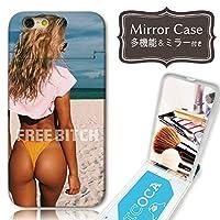 301-sanmaruichi- iPhoneXR ケース ミラーケース 鏡付き ミラー付き カード収納 おしゃれ セクシー sexy 水着 夏 FREEBITCH 海 かわいい かっこいい プリントデザイン