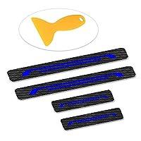 適用 トヨ タアクア クラウンアスリート プリウス ハリアー4個 炭素繊維カー ドアシルプレート ドアシルガード ステッカー ブルーの高輝度反射材料