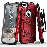 Zizo Bolt Case For iPhone 7 Plus プラス ボルト ケース 耐衝撃 スタンド付き 強化ガラス 極薄 0.33mm 硬度 9H 液晶 保護フィルム 付属 7 / 6 / 6s Plus プラス 対応 【正規代理店品 】 レッド/ブラック