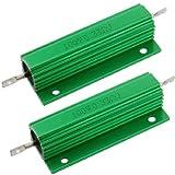 uxcell ハイフラ防止器 巻線型抵抗器  アルミシェル グリーン 100W  0.33 Ohm  5% 2個 …