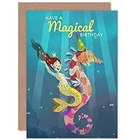 Mermaid Seahorse Birthday Magical Greetings Card マーメイドマジック