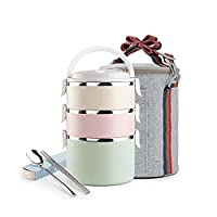 meizhouer Food Fruit Container Storage Bento Lunch Box Set Stainless Steel Japanese Bento Box Portable Picnic With Dinnerware Thermal Bag