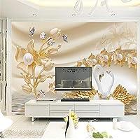 LJJLM 贅沢な金の花の白鳥の宝石類のテレビの壁の壁は大きい壁紙Ecoの壁紙をカスタマイズしました-260X180CM