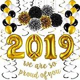 Chuangdi 卒業パーティー用品 2019バルーン ブラックゴールドとホワイトバルーン 卒業パーティー用吊り下げバナーキット 55ピース 卒業式デコレーション 記念品 2019