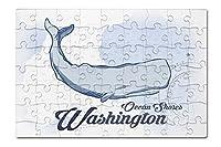 Ocean Shores、ワシントン–Whale–ブルー–Coastalアイコン( 8x 12プレミアムアクリルパズル63ピース)
