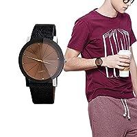 ウォッチ 腕時計 アナログ レザーバンド カップルウォッチ クオーツムーブメント フォーマル PUレザー ユニセックス 石英時計 ビジネス 高級感溢れる ファッション お洒落(メンズ ブラウン)
