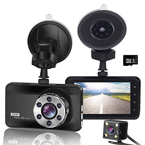 AMGEKE ドライブレコーダー 前後カメラ 32GB付 1080P高画質200万画素 ドラレコ 車載カメラ 常時衝撃録画 永久保証